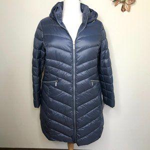 Halogen Down Blend Packable Puffer Coat Grey Size 2X NWOT